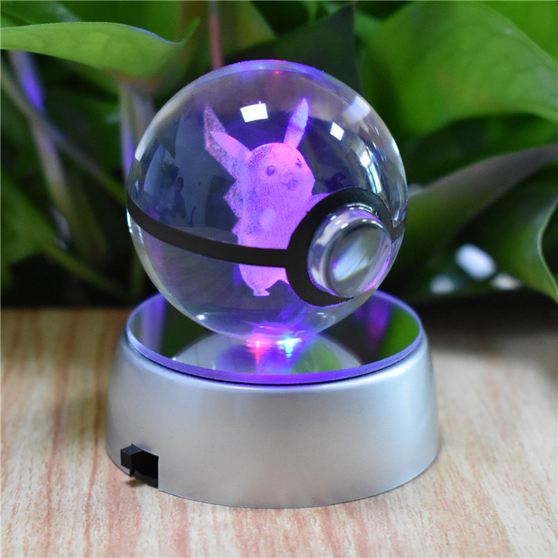 3D Lamp Pokemon Elf Charizad Pikachu Pokeball Crystal Ball LED Night Light Gifts
