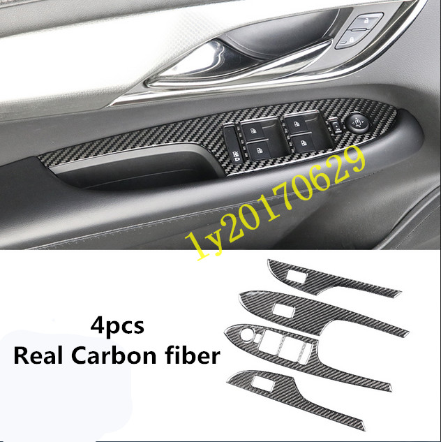 Real Carbon Fiber Door Window Switch Lift Panel Cover For