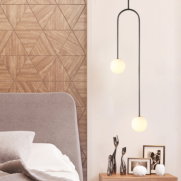 Details about Modern U Shaped Gold Pendant Light White Glass Chandelier Ceiling Lighting New