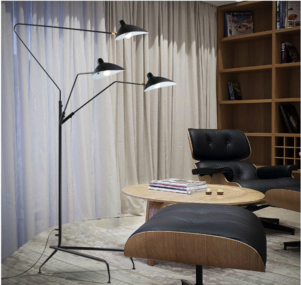 Three Arm Floor Lamp Standing Lamp Office Reproduction of Serge ...