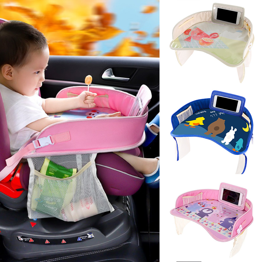 Kids Travel Tray for Snack Waterproof Safety Baby Car Seat Table Board Eat Play