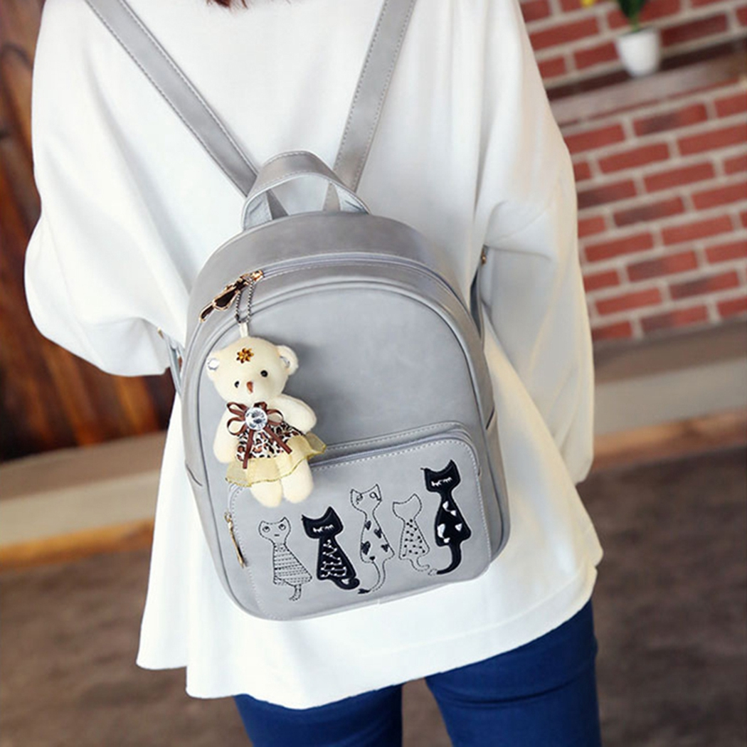Sweet Womens Girls 4PCS Cat Mini Backpack RuckSack School Crossbody Purse  Bag UK b20768604a434
