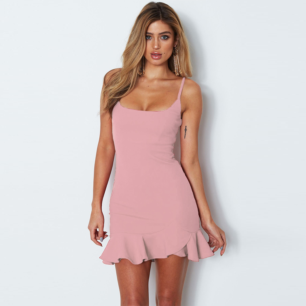 Sexy Womens Strappy Ruffle Deep V Neck Bodycon Dress Ladies Party ...