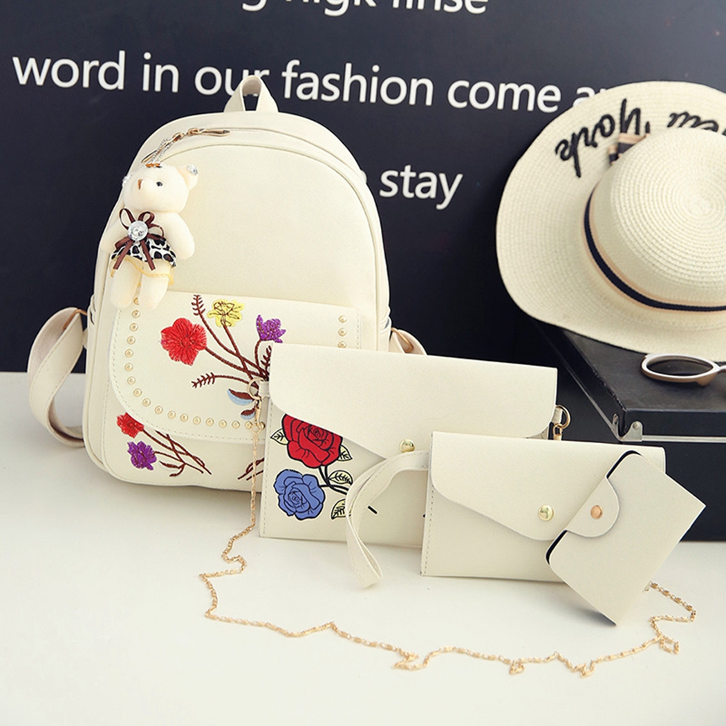 Women-Ladies-Floral-4PCS-Set-Mini-PU-Leather-Backpack-RuckSack-Handbag-Purse-Bag