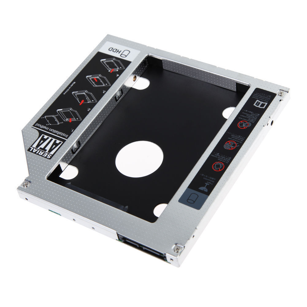NEW 2ND HDD SSD CADDY SATA 9.5mm Optical bay for Universal Apple Macbook Pro