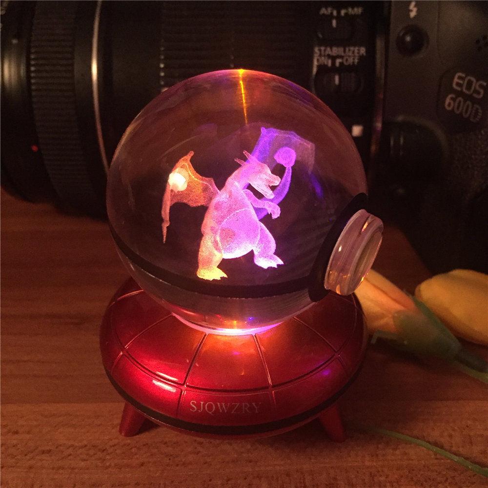 Pokemon Pikachu 3D LED Kristall Tischlampe Nachtlicht Geschenk RGB Xmas Gift