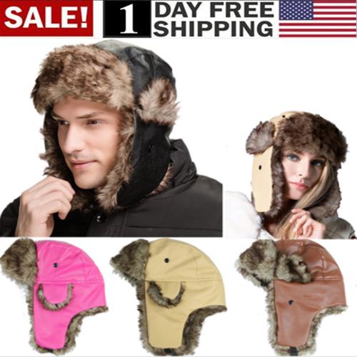 Adult Men Winter Trapper Aviator Trooper Earflap Warm Ski Hat Fur Bomber Hats