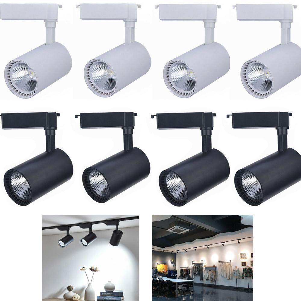 Details About 4pcs 20w 30w Led Cob Track Lighting Adjule Angle Cool White Rail Spotlights