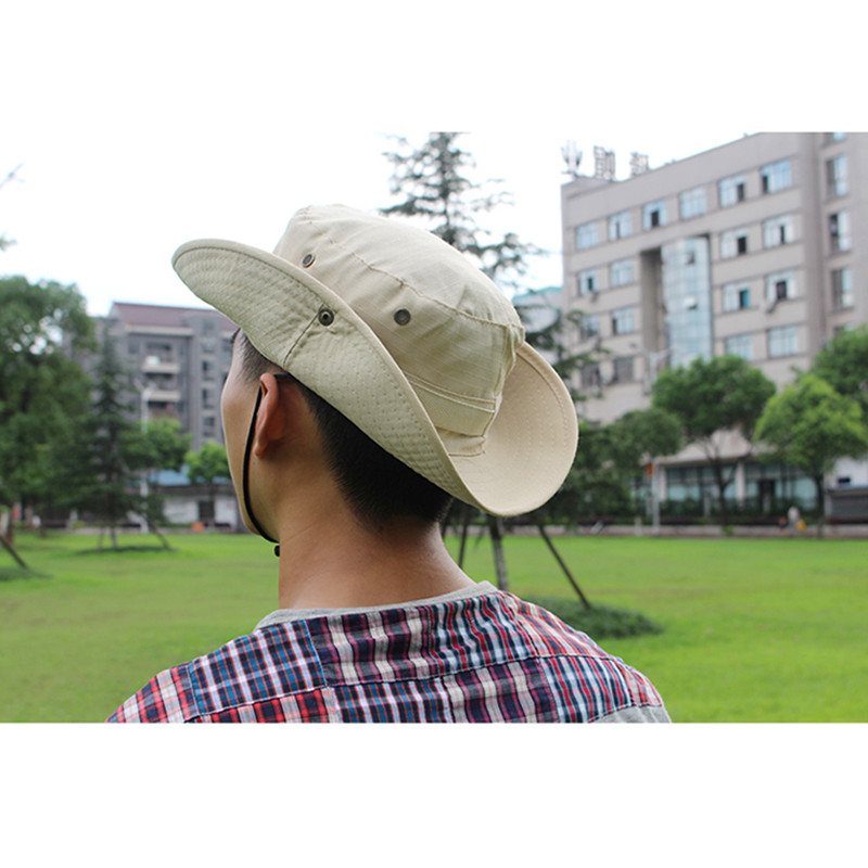 820f3e2b Bucket Hat Boonie Hunting Fishing Outdoor Men Cap Washed Cotton With Strings  S1