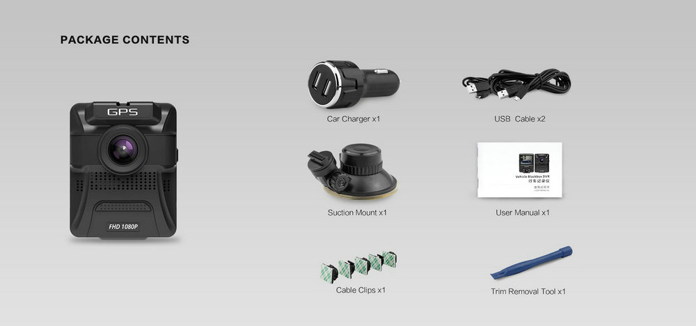 azdome gs65h dual lens voiture dvr cam ra dash cam ra avant 1080p arri re 720p ebay. Black Bedroom Furniture Sets. Home Design Ideas