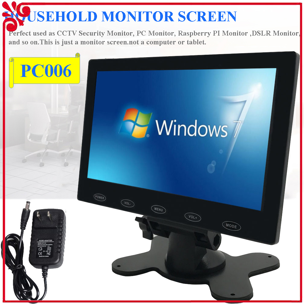 7 10 zoll lcd monitor cctv pc bildschirm hdmi for dslr. Black Bedroom Furniture Sets. Home Design Ideas