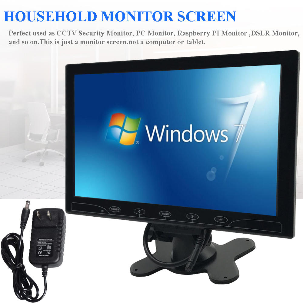 10 10 1 zoll lcd hd cctv monitor hd 1024 600 pc. Black Bedroom Furniture Sets. Home Design Ideas