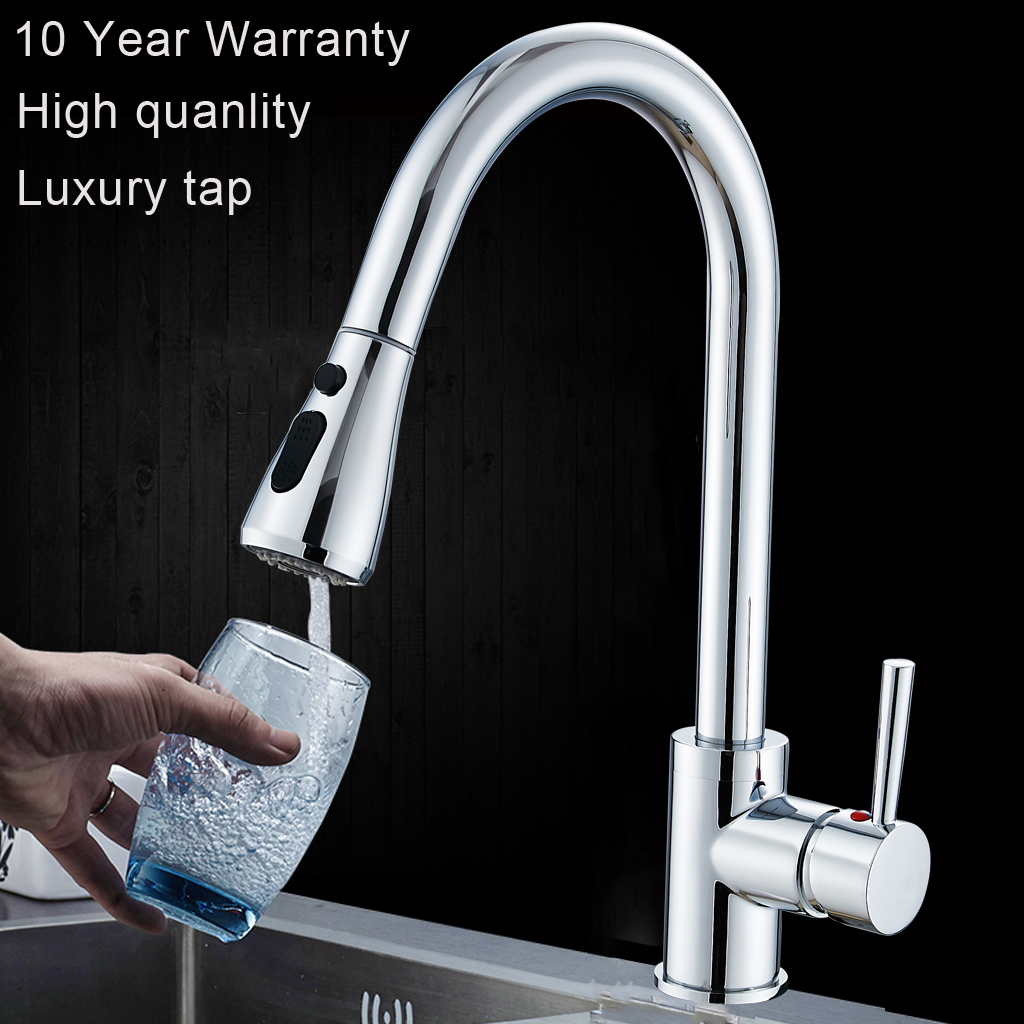 Kitchen Tap With Pull Out Hose Faucet Mixer 360 Rotate Single