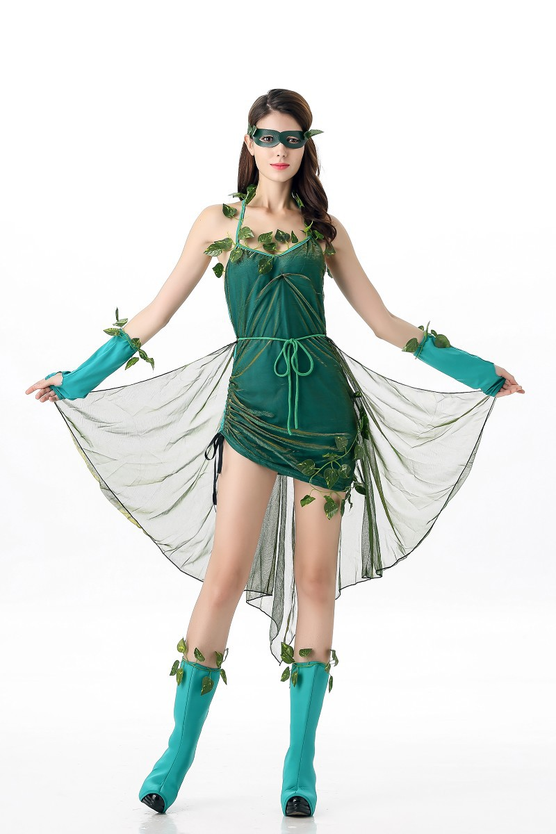 Lethal Beauty Poison Ivy Batman Costume Womens Halloween Fancy Dress