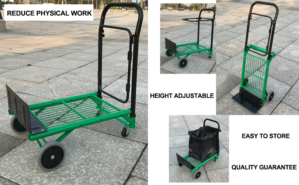 d5ca7652b4ec Details about Signstek Fodable Hand Truck and Portable Gardening Lawn Leaf  Bag Dolly
