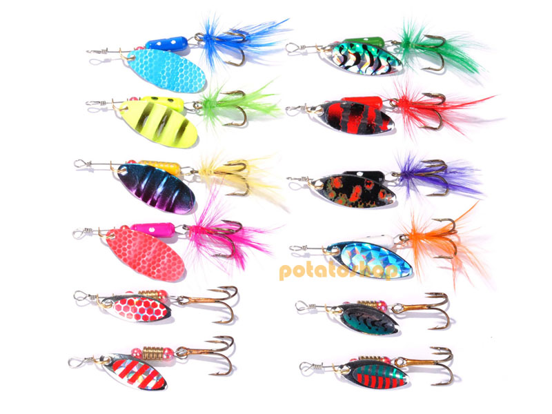 Details about  /60 Fishing Spinners Lure Set Spoon Plugs Pike Lure in 5 Tackle Boxes Perch Bass