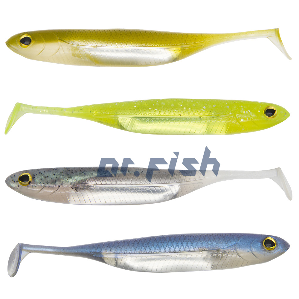 12x Salmon Pike Fishing Spinner Plastic Soft Crankbait Lure Shad Swimbait Paddle
