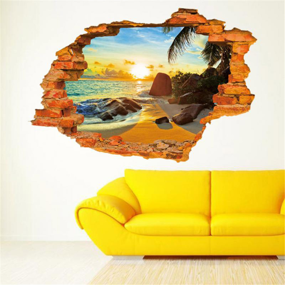 Home Break Wall Beach Sea View Wall Sticker Decals Vinyl Art Room ...