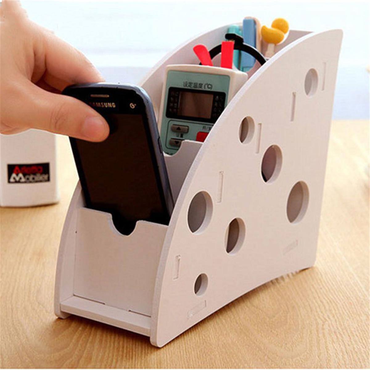 DIY Home Remote Control Storage Case Box White Wood Plastic Plate Bins Che