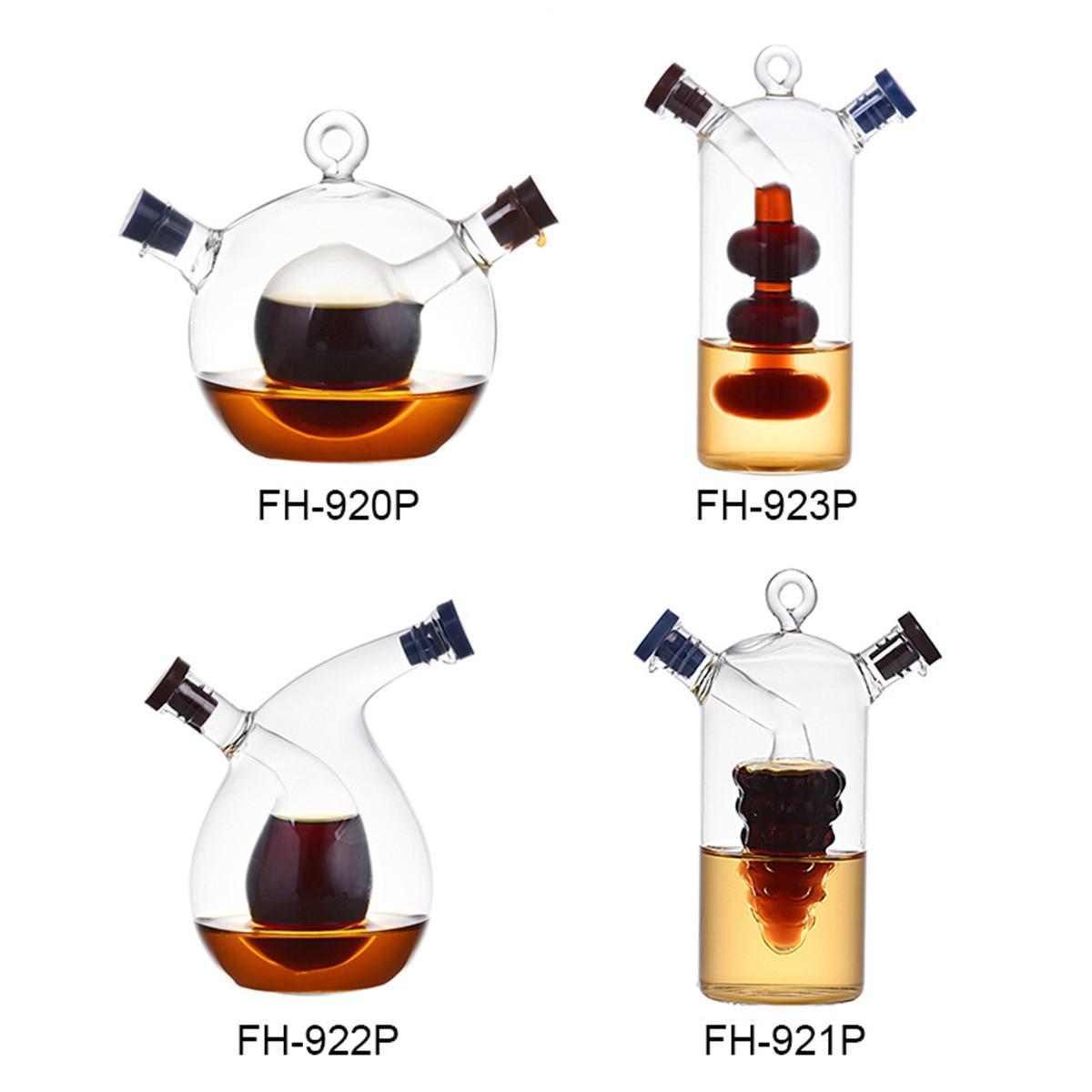 Kitchen 2 in 1 Glass Oil Vinegar Bottle Cruet Soy Sauce Holder Dispenser Storage