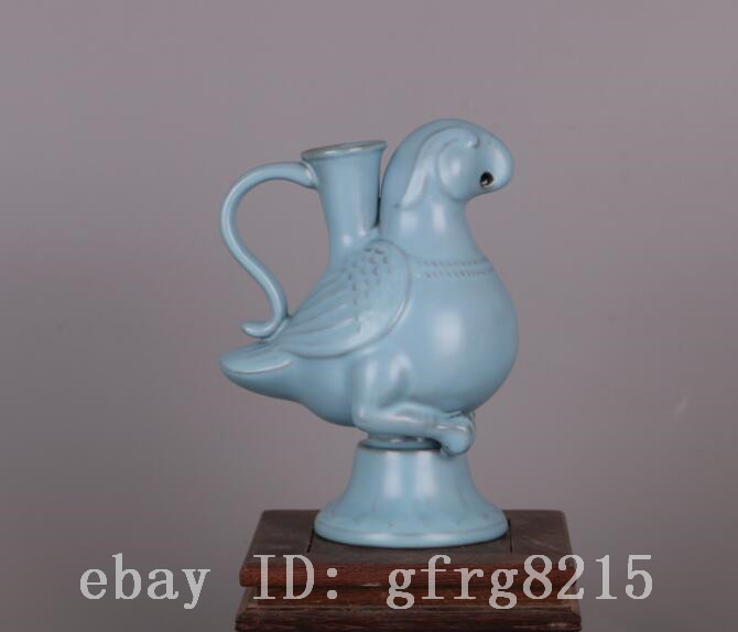 China Porcelain qing guangxu ru kiln Sky blue glaze Horseshoe shape Brush Washe