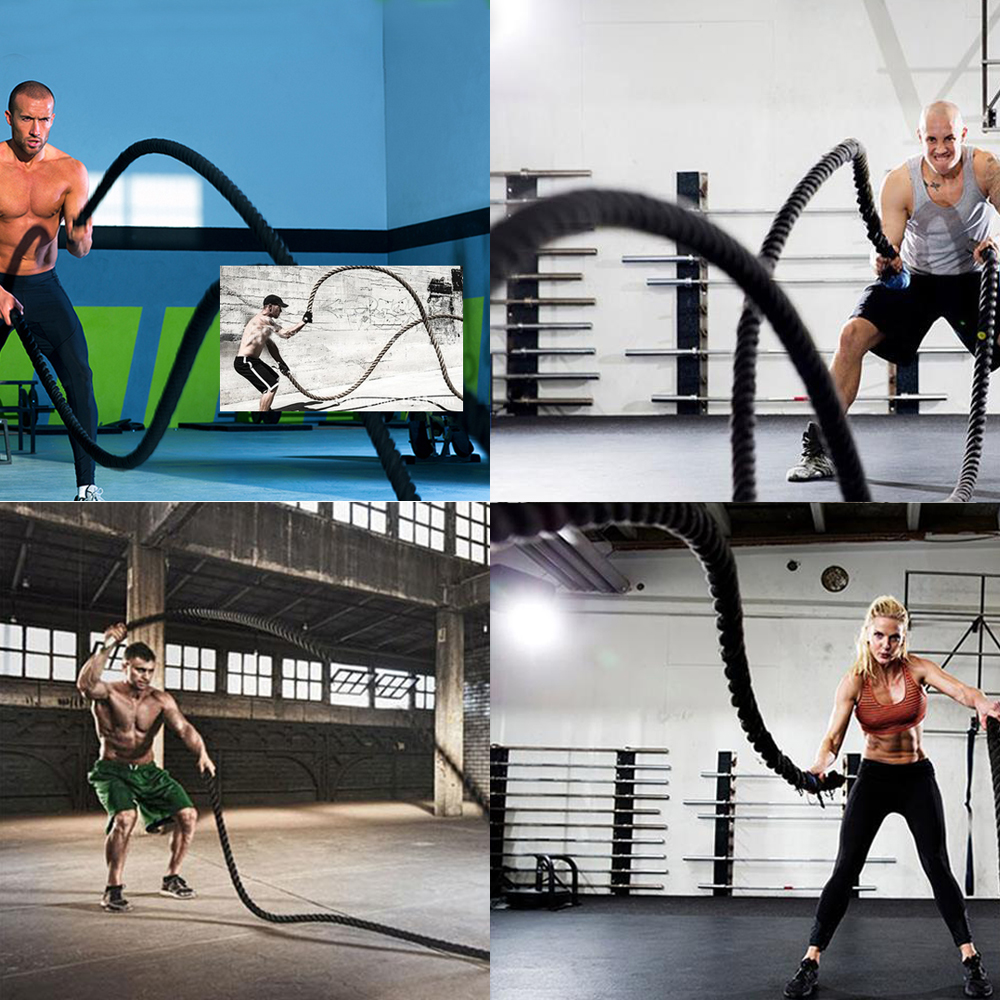 new 30 40 50 poly battle rope climbing training fitness exercise