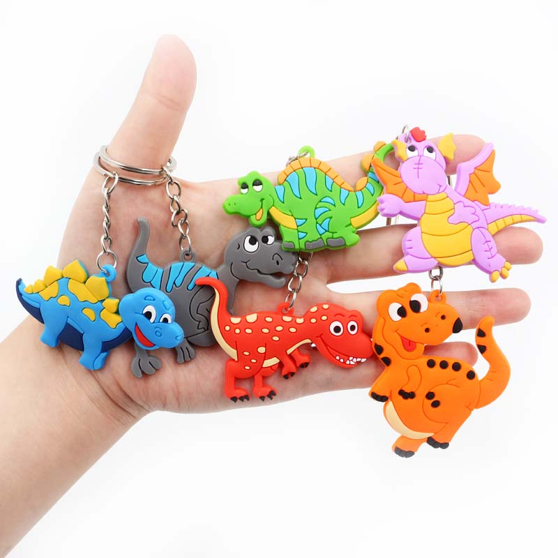 6Pcs Bracelet keychain mini dinosaur rubber wristband dinosaur keychain AL