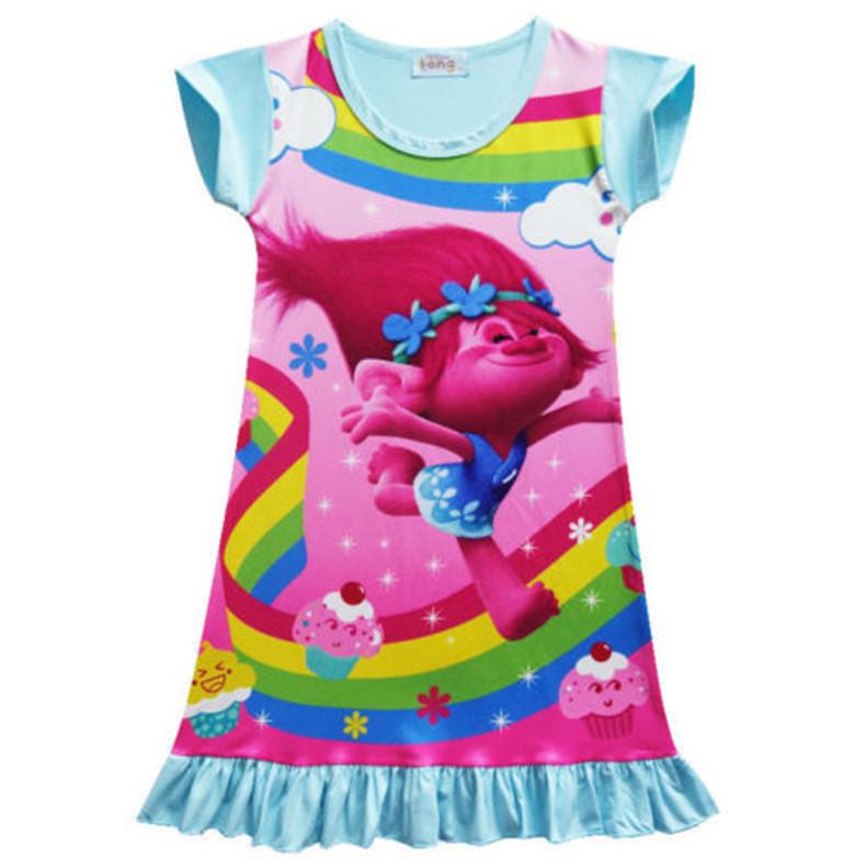 New-Fashion-Baby-Girls-Trolls-Poppy-Dress-Cartoon-Kids-Pyjama-Nightie-Clothes