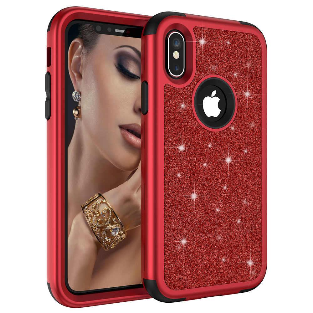 For iPhone X 7 8 Plus 6S Luxury Bling Glitter hybrid Hard ...