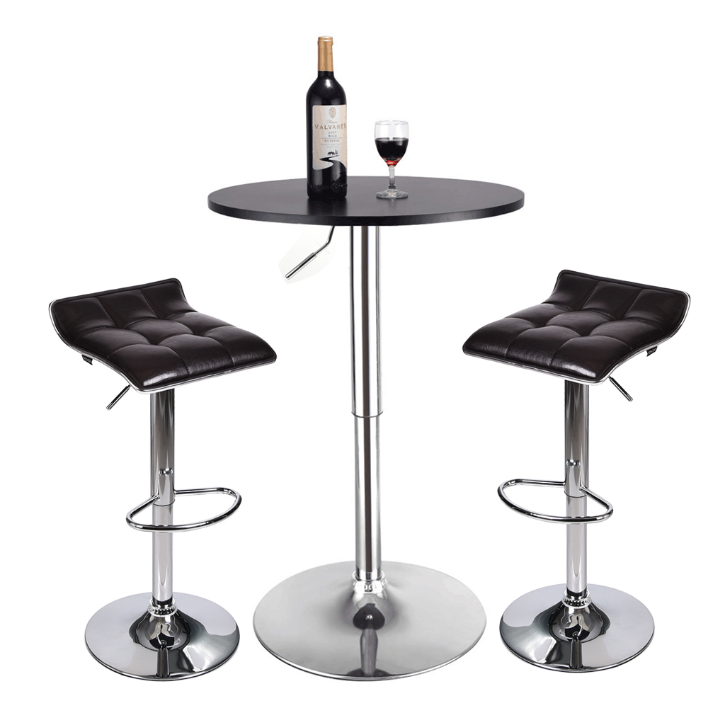 los angeles c5547 e19ef Details about 3 Piece Pub Bar Table Set Bar Stools Adjustable Dining Chairs  Counter Height