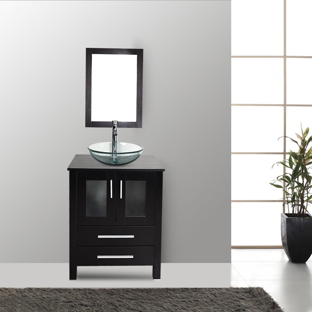 Peri bathroom accessories - 24 Vanity Sink Top Cabinet Wood Bowl Vessel Faucet Mirror Bath Accessory Set