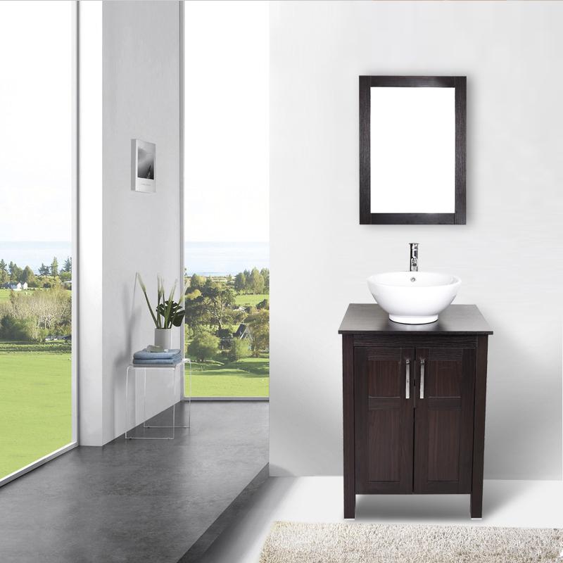 """24"""" Bathroom Vanity Top Cabinet Wood Single Vessel Sink ..."""