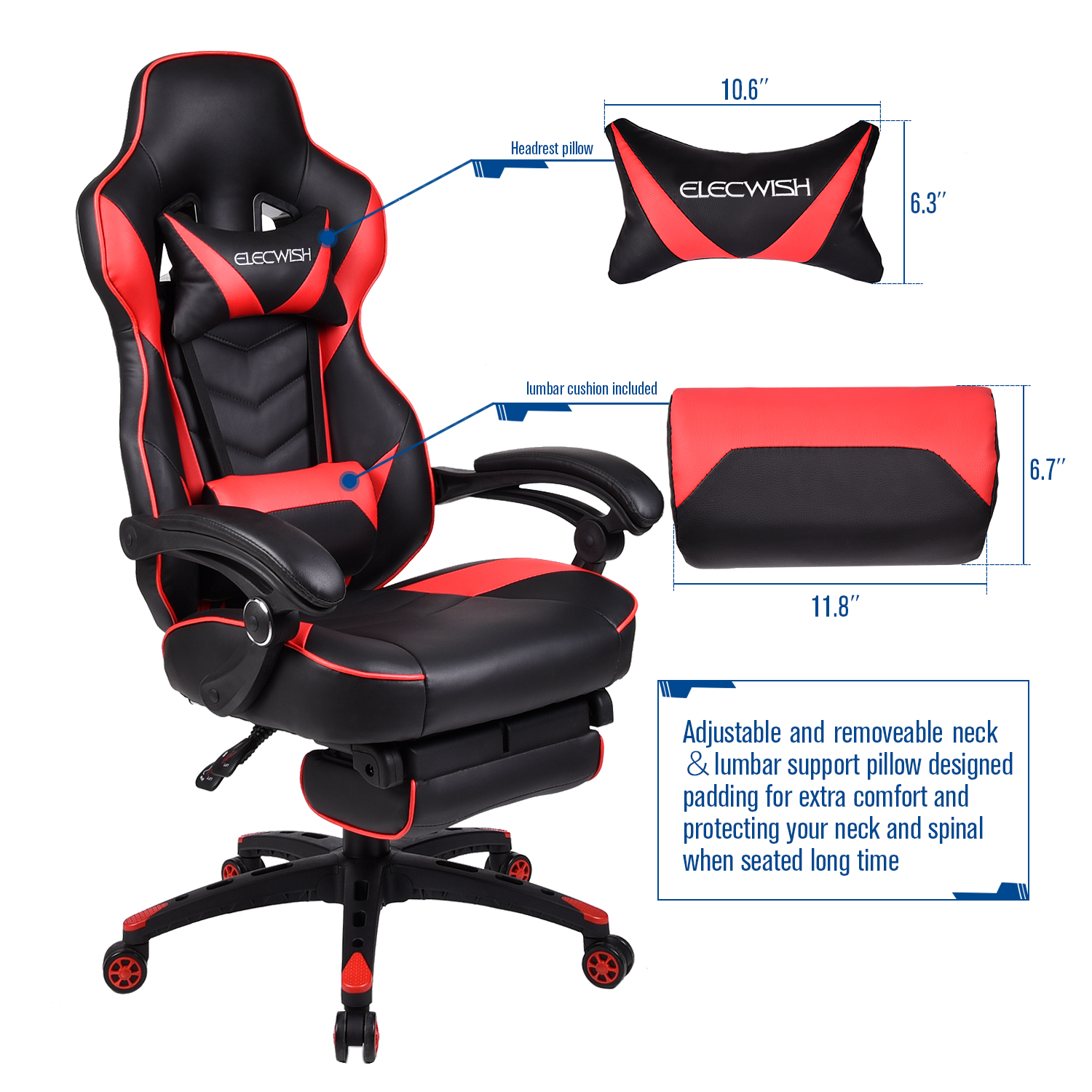 Stupendous Details About Video Gaming Chair Racing High Back Leather Recliner Office Desk Seat Footrest Bralicious Painted Fabric Chair Ideas Braliciousco