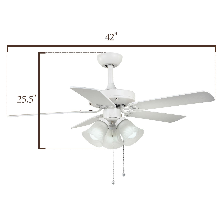 Modern 42 in Traditional Ceiling Fan Flush Mount Glass Light Kit