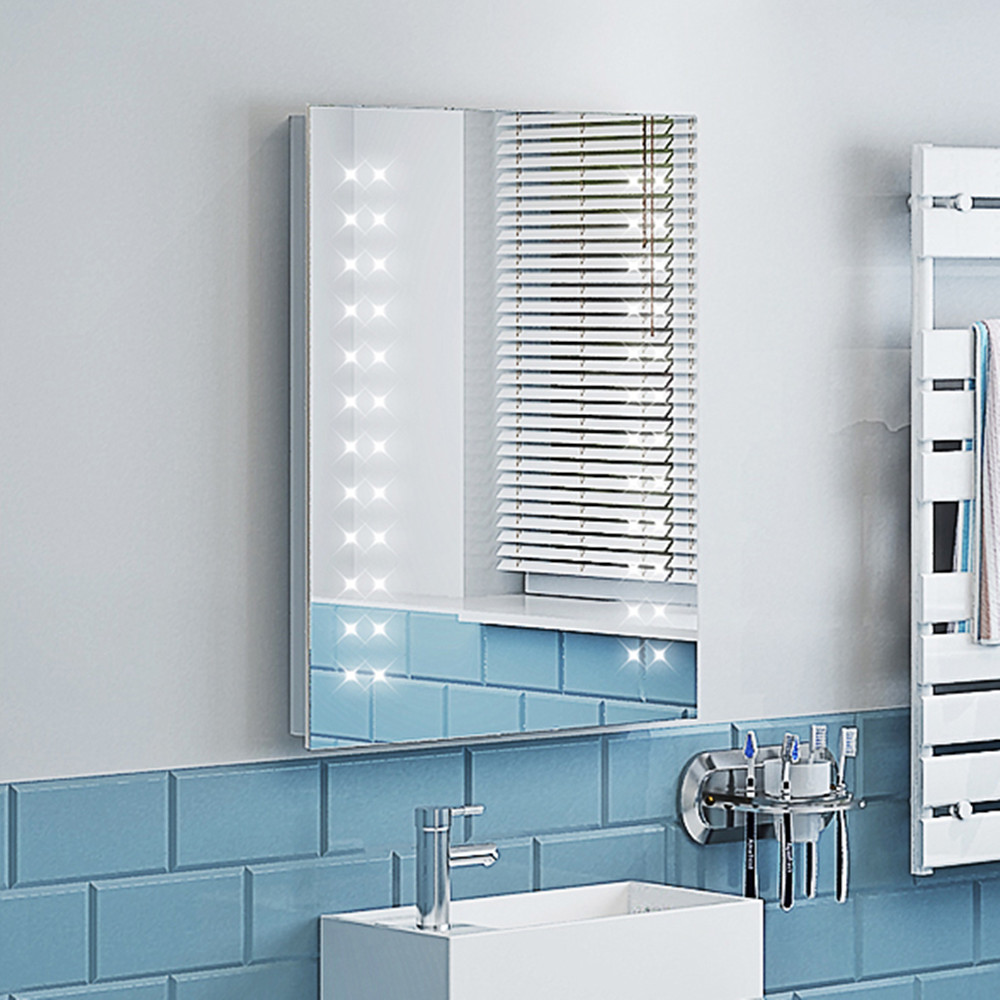390x500mm Wall Mounted Bathroom Mirror Cabinet Light Up Led Battery Powered Uk