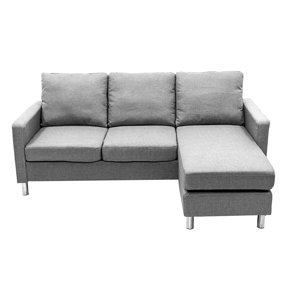 Corner Recliner Sofa Ebay: L Shaped Corner Sofa Grey Fabric Modern Small Living Room