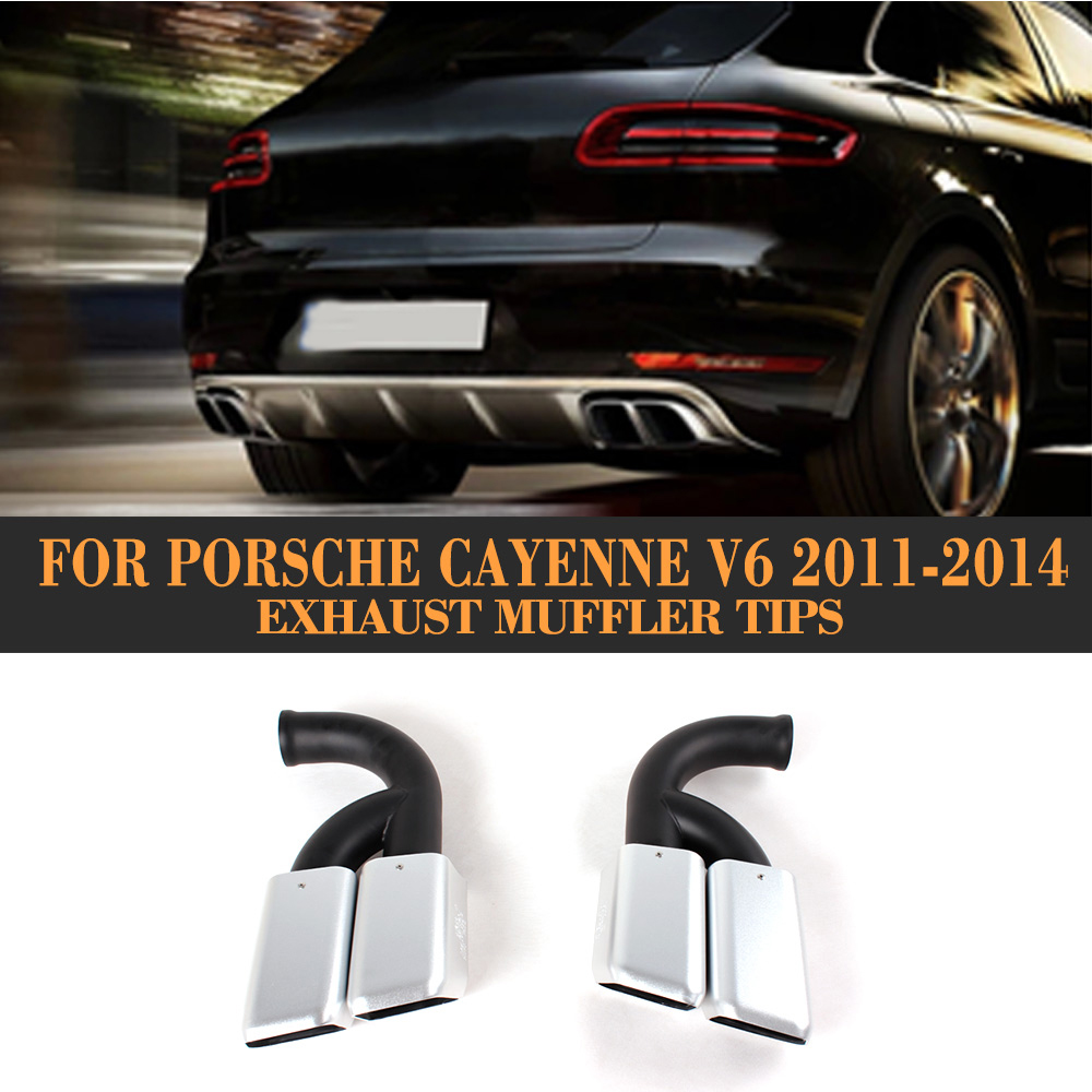 VIC Matte Black Stainless Steel Exhaust Tips Long Pipe For Porsche Cayenne V6
