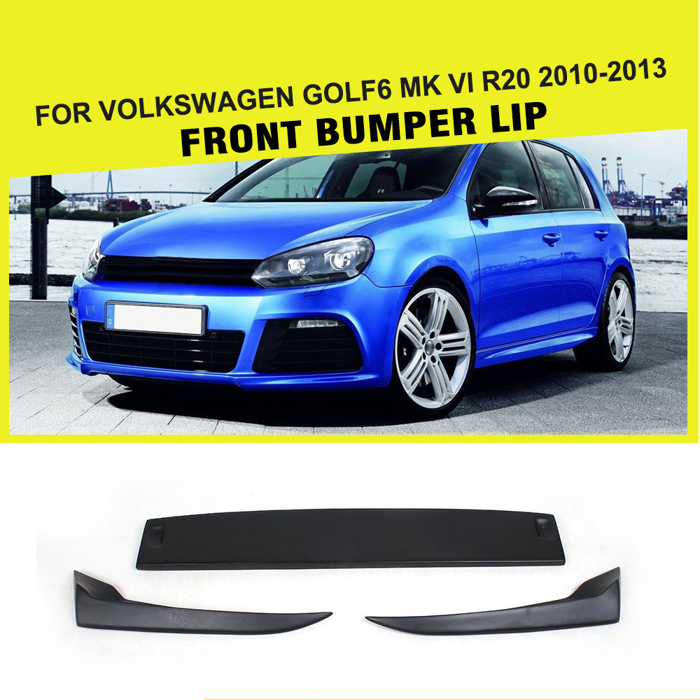 3pcs frp front bumper lip chin spoiler fit for vw golf 6. Black Bedroom Furniture Sets. Home Design Ideas