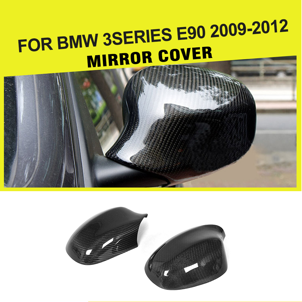 Carbon Fiber Replacement Side Rearview Mirror Covers Fit for BMW E90 LCI 09-11