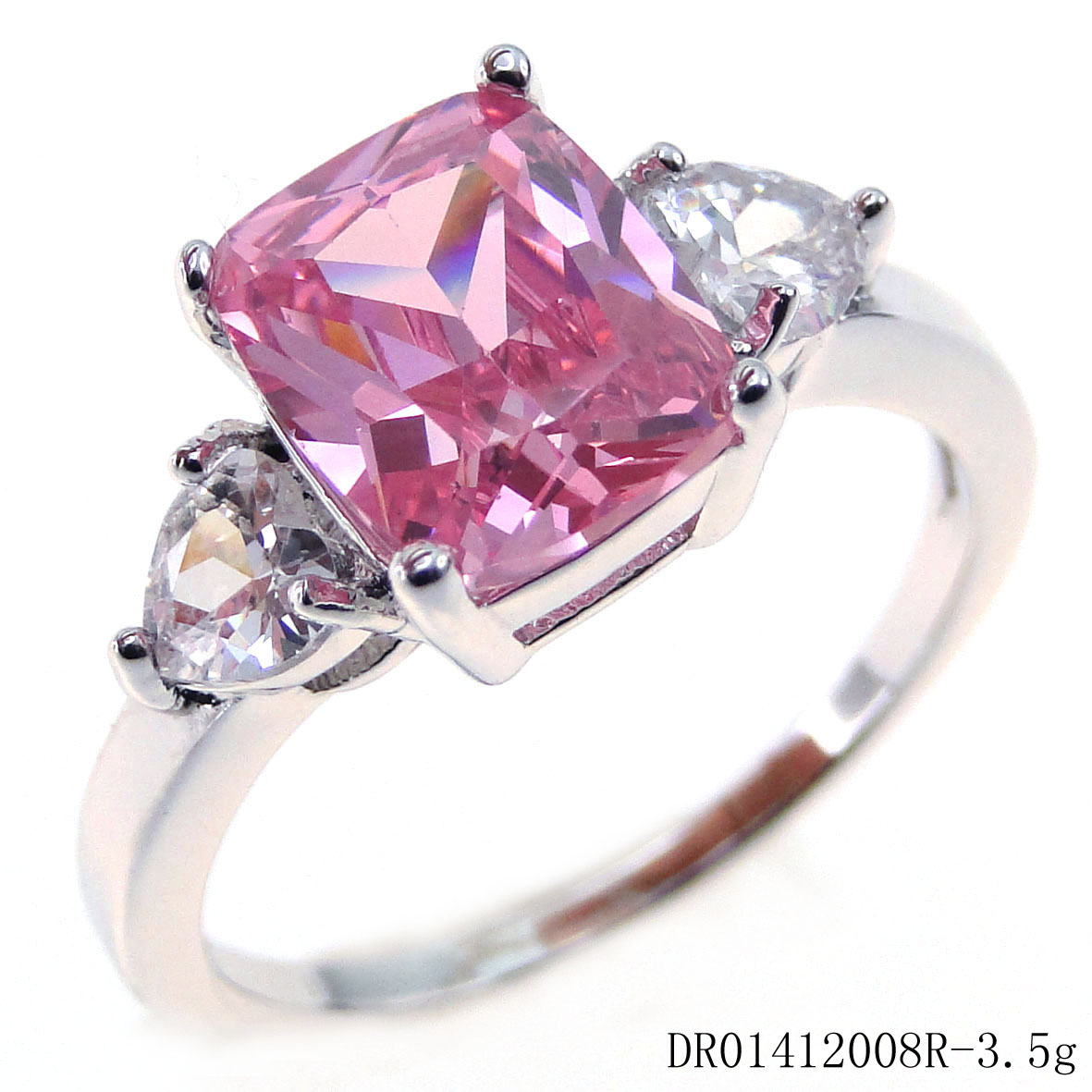 Three Stone White Gold Plated Pink Emerald CZ Engagement Wedding ...