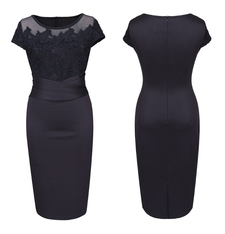 b5275ddf51d Details about Elegant Women Black Floral Lace Bodycon Midi Pencil Dress  Evening Cocktail Party