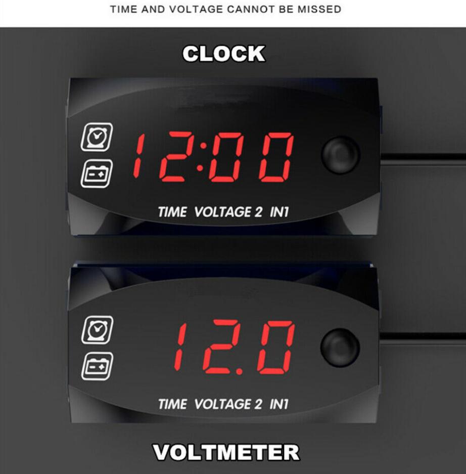 Universal Car SUV 2in1 Gauge  Meter Digital Red LED Voltmeter Voltage Time Clock