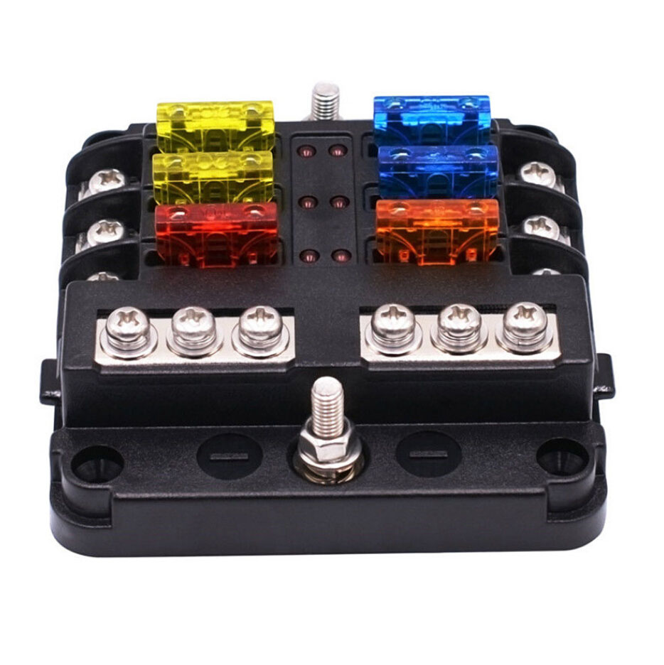 6 Way Blade Fuse Holder Pbt Pc Fuse Box Block Case For 12v