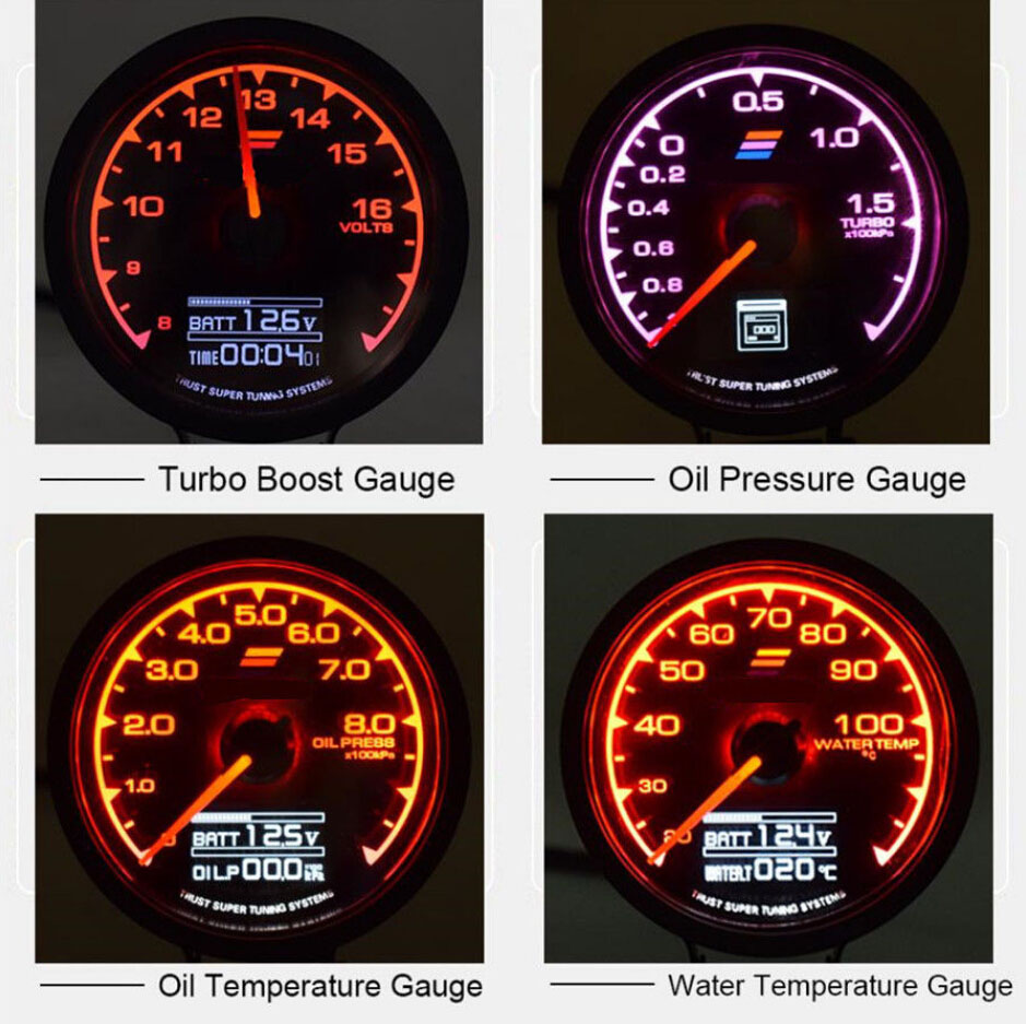 25 7 Colors Oil Temp Gauge Led Digital Voltage Meter Car Temperature Wiring Yacht Instrument Bracket