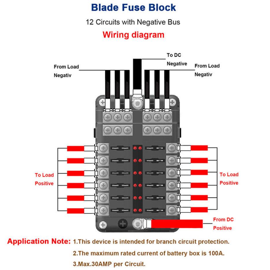 For 12v 24v Car Truck Boat 12 Way Blade Fuse Holder Pbt Pc Box Wiring Diagram Block Case