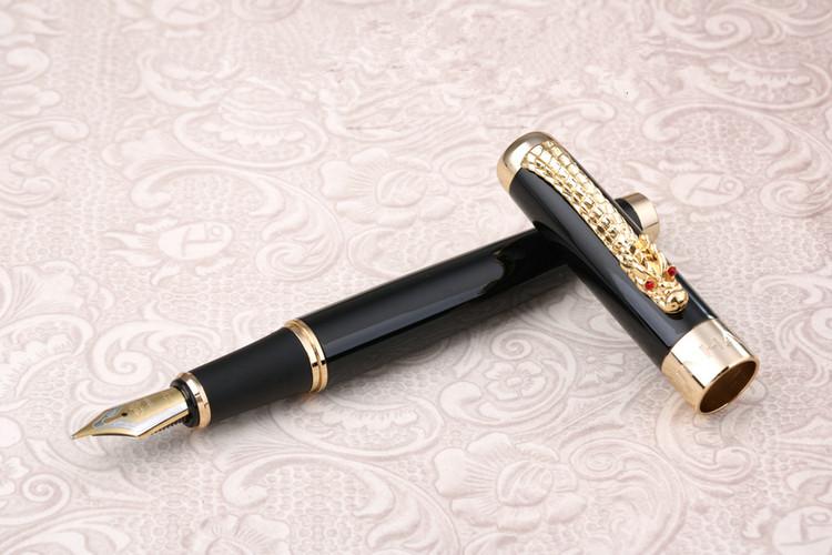 JINHAO 1200 Eastern Dragon Silver Colour broad nib fountain pen New