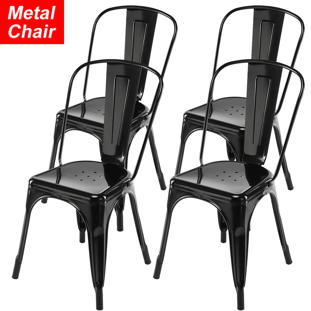 Swell Details About Stackable Metal Chairs Industrial Set Of 4 18Height Restaurant Chairs With Back Frankydiablos Diy Chair Ideas Frankydiabloscom