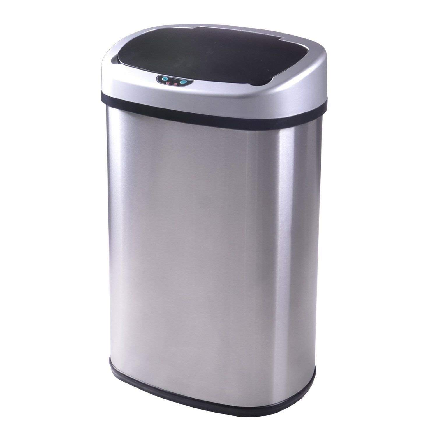Details about Touch-Free Sensor Automatic13-Gallon Stainless-Steel Trash  Can Kitchen 50R New