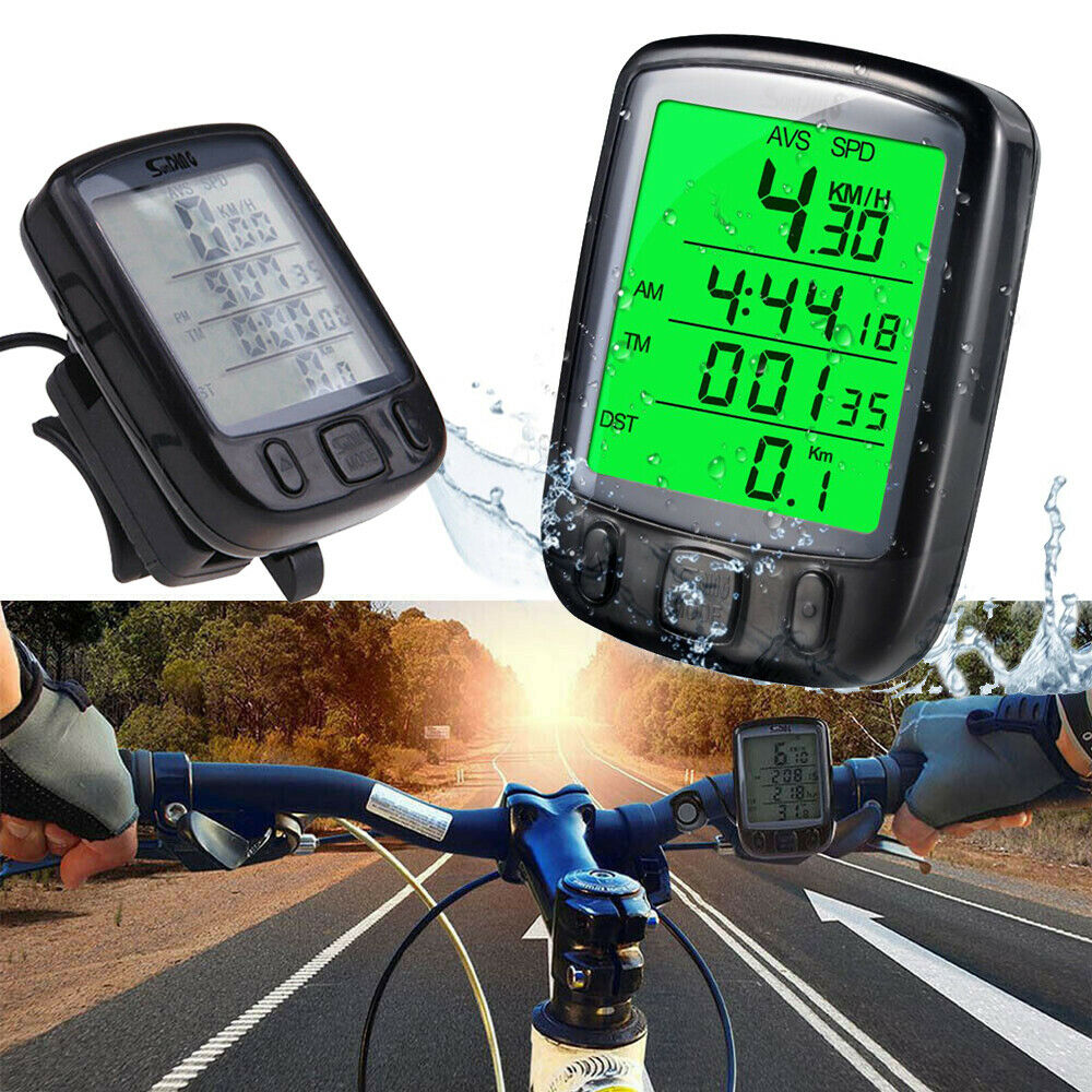 Bicycle Waterproof Cycling Odometer Speedometer with LCD Backlight Bike Computer
