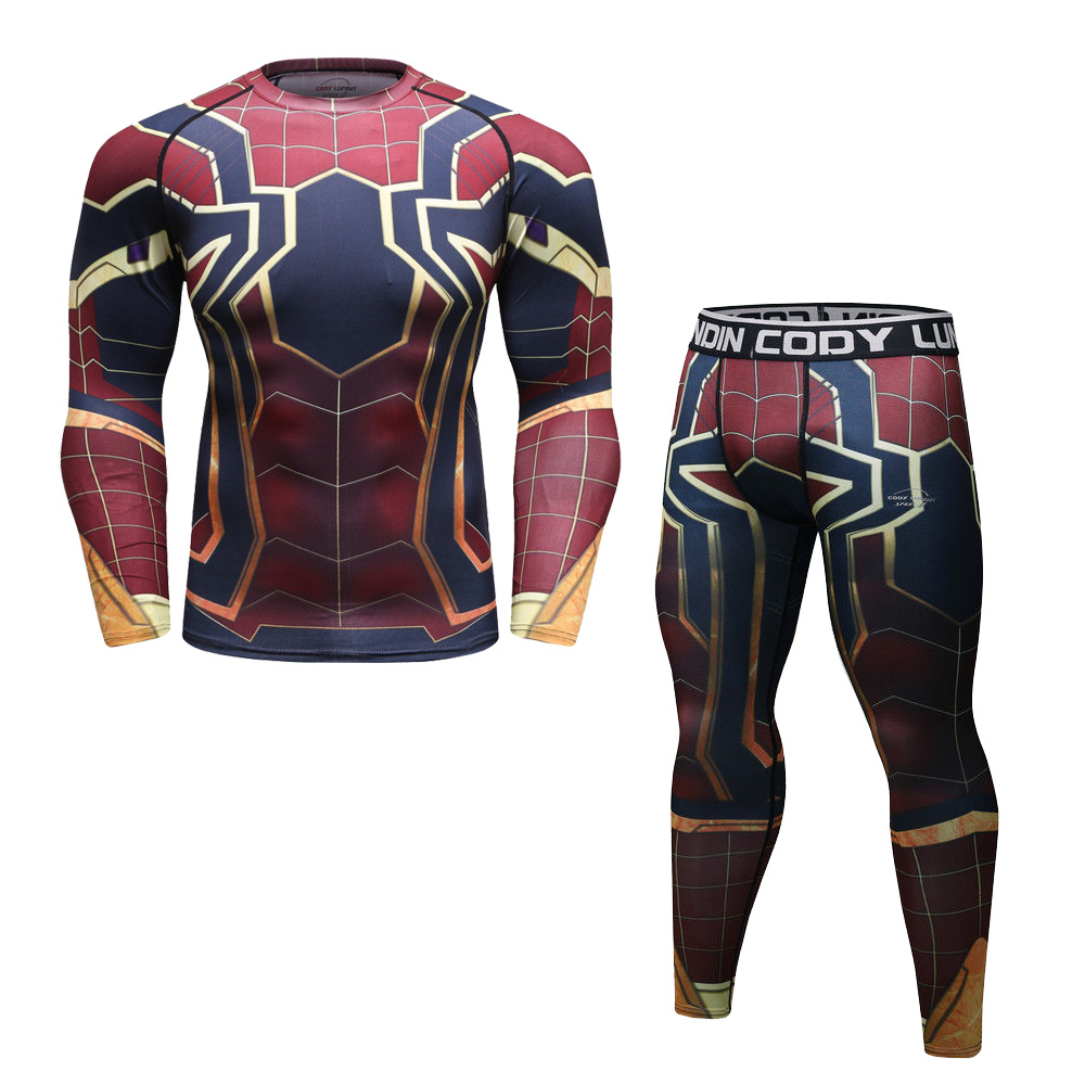 922b5cee14be8 Marvel Avengers Spider-man Set Shirt Pants Compression Running Cool dry for  Men
